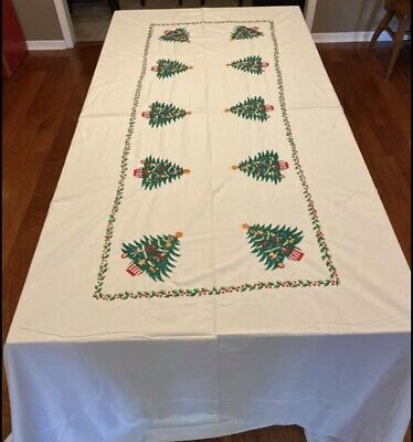 $ CDN44.06 • Buy Vintage 50s 60s Embroidered Linen Table Cloth Christmas Tree Holly