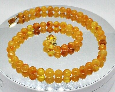£7.57 • Buy 16.16g REAL ANTIQUE OLD EGGYOLK BALTIC AMBER NECKLACE BEADS SALE Butterscotch