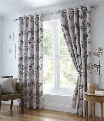 £18.99 • Buy Lined Curtains 46  Wide X 72  Drop Eyelet Ring Top  Grey Natural Abstract Leaf