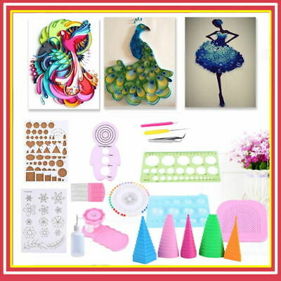 £14.54 • Buy Set Quilling Template Paper Rolling Kits Slotted Tools Tweezer Ruler Home DIY