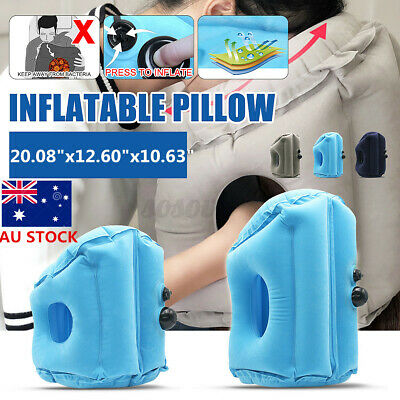 AU14.53 • Buy Inflatable Pillow Rest Travel Air Camping Hiking Cushion Neck Support Nap Flight