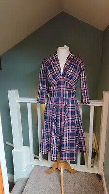 AU28.03 • Buy Miss Candyfloss Navy/Red Tartan Check Dress Size M Med