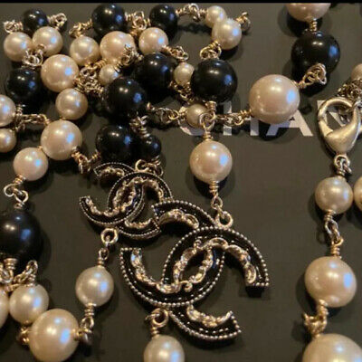 £1039.47 • Buy CHANEL Necklace Long Gold Plated White Pearls & Black Beads CC Logo B14V Auth
