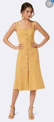 AU29 • Buy Forever New Size 12 Yellow Tencel Linen Dress Button Front Midi
