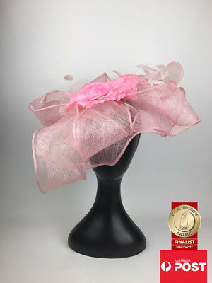 AU129 • Buy Scala Sinamay Fascinator Melbourne Cup Statement Pink Floral Party Fashion Hat