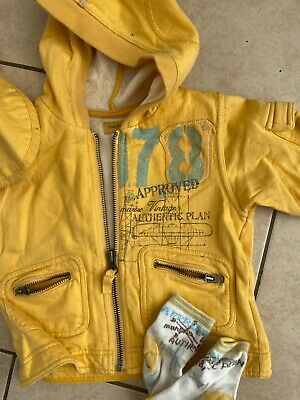 £1.50 • Buy Marese Designer Baby Yellow Jersey Hooded Jacket With Hat & Matching Socks 12m