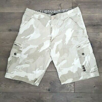 $30 • Buy Quiksilver Mens Sz 34 Tan Beige Cargo Jean Shorts Embroidered Heavy Cotton