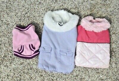 £7.20 • Buy Girl Dog Clothes 3 Gently Used Outfits Lot SIZE Small S Hoodie Puffer Jacket