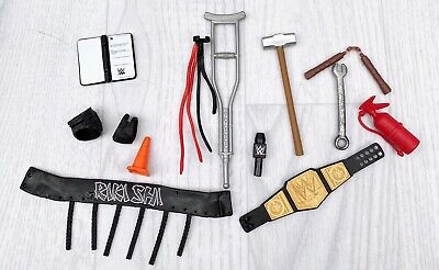 £14.96 • Buy WWE ELITE FIGURE DRESS UP ACCESSORIES TOY PLAY Belt HAMMER Crutches Mic Spanner