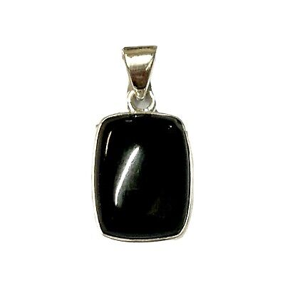 £27 • Buy Whitby Jet And 925 Sterling Silver Rectangular Pendant