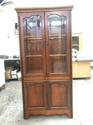 £120 • Buy Vintage Younger Furniture Glass Fronted Oak Display Cabinet With Internal Light