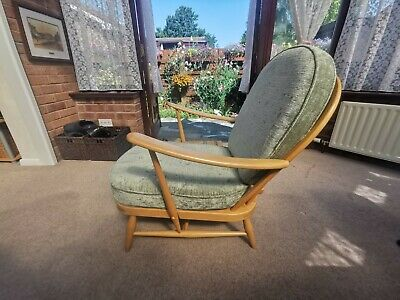 £200 • Buy Vintage Ercol Windsor Armchair 203 Light Wood Finish Recovered Recently/Green