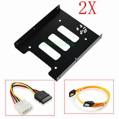 AU10.99 • Buy 2X 2.5  To 3.5  SSD HDD Hard Drive Mounting Bracket Adapter Bay Caddy W/ Cable