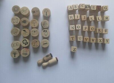 £3.99 • Buy Super Cute Bundle Of Wooden Rubber Stamps 20 Patterns And 25 Alphabet Letters