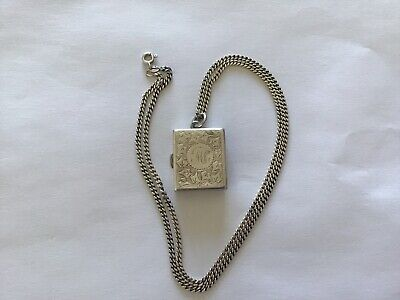 £65 • Buy STERLING SILVER  Stamp Case Photo Holder Locket Chatelaine & Chain