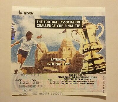 £3 • Buy Arsenal V Sheffield Wed - FA Cup Final - 15th May 1993 - Match Ticket