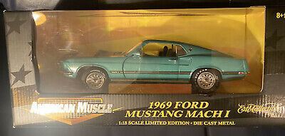$59 • Buy American Muscle 1969 Ford Mustang Mach I 1:18 Ltd Ed  Teal