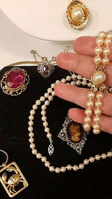 $ CDN40 • Buy Vintage Lovely Jewelry Lot Gerrys Cameo,Crystals,Faux Pearls?Bracelet,Ring,More!