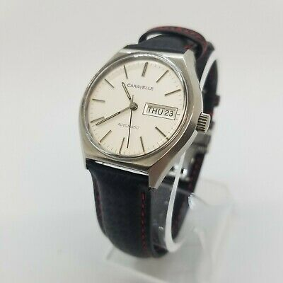 $ CDN196.32 • Buy Vintage 70s Caravelle Hand- Wind Silver-Dial Mens New Leather Band  Watch