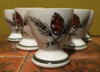 £0.99 • Buy Egg Cups  X 6 Denby Langley Rustic Forest Pine Pattern C 1965