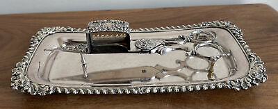 £29 • Buy Antique Silver Plated On Copper Scissor Action Candle Trimmer / Snuffer & Tray