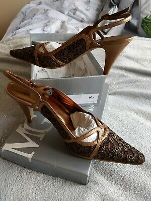 £5.90 • Buy Mary G Bronze Brown Lace Leather Slingback Shoes Heels Size 6.5