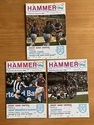 £0.49 • Buy 3 X West Ham United Programmes 1982-83 V Liverpool, Luton Town And West Brom