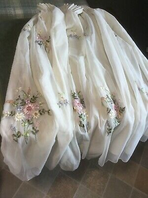 £18 • Buy Very Pretty Ivory Embroidered Delicate Flower Voile Lined Curtains 70X44 Ins