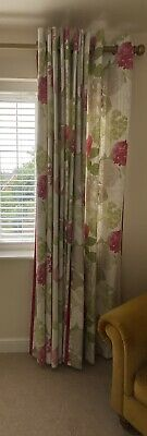 £45 • Buy Next Pink & Green Flourish Hydrangea Curtains Eyelet Top With Matching Cushions