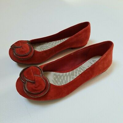 £5 • Buy Clarks Womens Red Size 4.5 Suede Style Flat Sandal Shoes Wedding