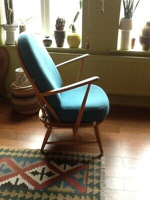 £250 • Buy ERCOL 305 Armchair, Beech/elm Frame, Teal Seat/back Upholstered Cushions In Vgc