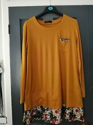 AU5.59 • Buy Zanzea Collection Dress Long Top Orchre Yellow With Floral Hem XL
