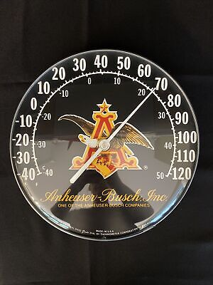 $ CDN440.58 • Buy Vintage Anheuser Busch Budweiser Beer Gas Oil 12  Metal Glass Thermometer Sign