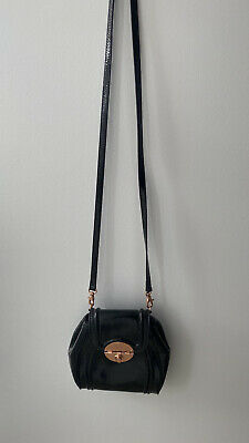 AU31 • Buy Mimco Offbeat Black Leather Crossbody Bag With Rose Gold Detail