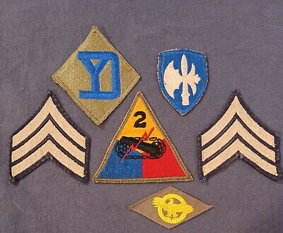 £8.23 • Buy WWII US Army Patch Lot 65th 26th Infantry 2nd Armored Division Rank Insignia