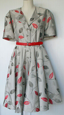 AU39.90 • Buy Sz 18/20 - Taupe Full Circle S/waister Style Plus Size Dress W/ Red Belt