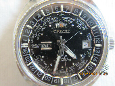 $ CDN207.70 • Buy VINTAGE1970s MENS ORIENT 21J WORLD DIVER AUTOMATIC SPANISH DAY NICE WATCH