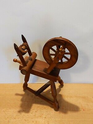 AU33.97 • Buy Antique Carved Wood Miniature Spinning Wheel Moving Parts Doll Dollhouse 5 1/8