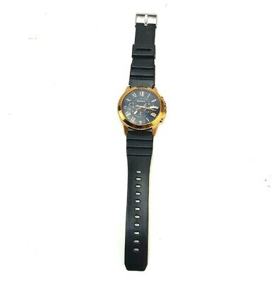 $15 • Buy Fossil Grant Chronograph Rose Gold Tone Watch Roman Numerals PARTS ONLY *Read*