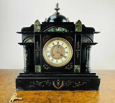 £112 • Buy Antique Victorian French Chiming Mantel Clock In Black Slate Fritz Marti C1890