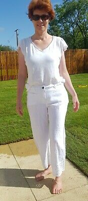 £19.99 • Buy BNWT Miss Captain Tortue White Linen & Cotton Trousers Size 40 With Pockets