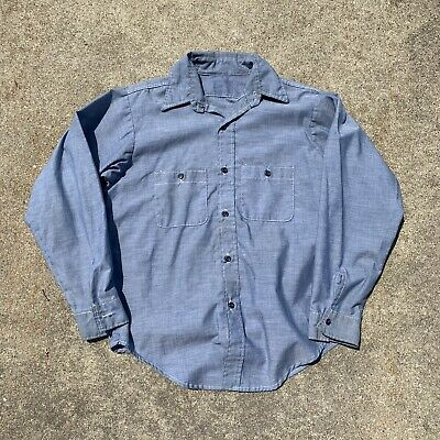 $16 • Buy Vintage Chambray Shirt Mens Large Blue Used Worn Button Front