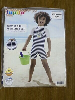 £5 • Buy Age 6- 12 Months Baby Boys UV Protection All In One Suit 74- 80cms ( Top Shorts)