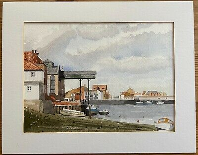 £10 • Buy ORIGINAL WATERCOLOUR PAINTING By GRANT - MOUNTED SIGNED & DATED 2000 SEA HARBOUR