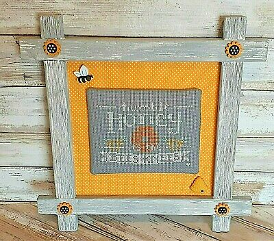 £8.29 • Buy Humble Honey - Finished Cross Stitch - Country Crossbar Frame, Bee Buttons