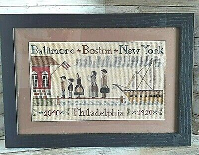 £9.73 • Buy Coming To America - Immigrant Family - Finished Cross Stitch - Framed & Matted