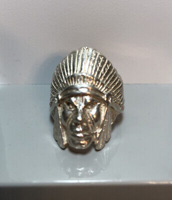 £35.66 • Buy 925 Sterling Silver Indian Head Ring Large Chief  Navajo Native American Size 10