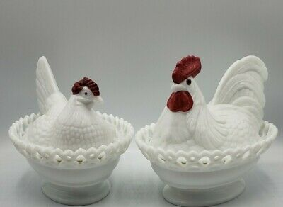 $61.75 • Buy Vintage Westmoreland Milk Glass Rooster & Hen Covered Candy Dish Lace Edge Pair