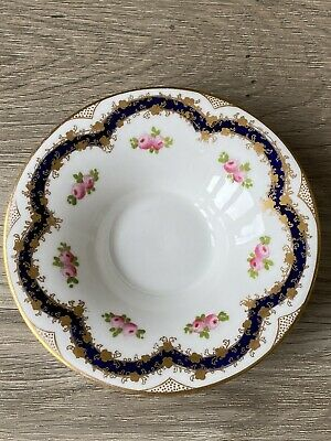 £3.99 • Buy Vintage Crown Staffordshire Saucer Blue Pink Rose Gilt Coffee Can / Cup? 12.5cms