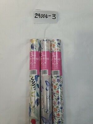 £4.99 • Buy 3 X 3m Rolls Birthday Gift Wrapping Paper Floral And Butterflies 29004R -3